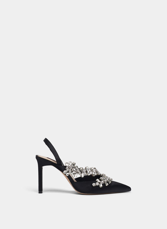 Black bejewelled satin high-heel slingback shoes