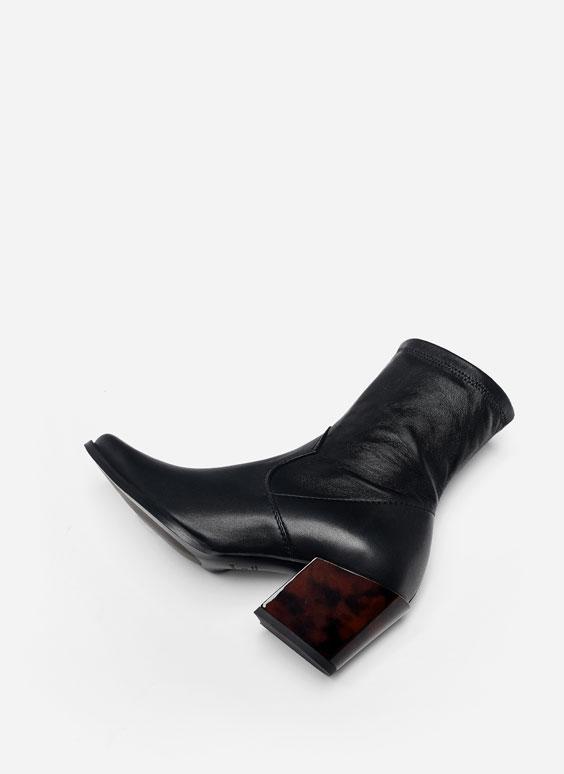 Nappa cowboy boots with tortoiseshell heel