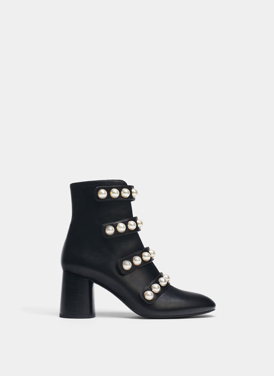 Black pearl-embellished ankle boots