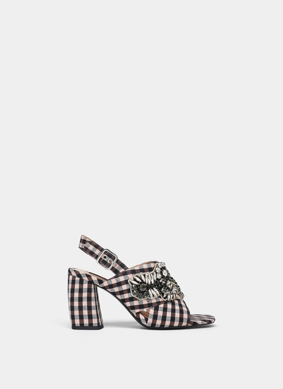Bejewelled checked sandals