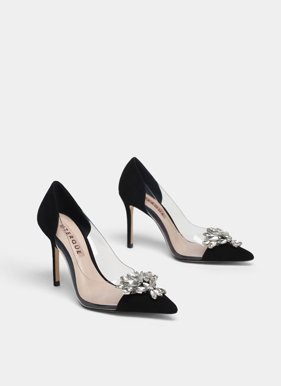 Vinyl high-heel court shoes with gem detail