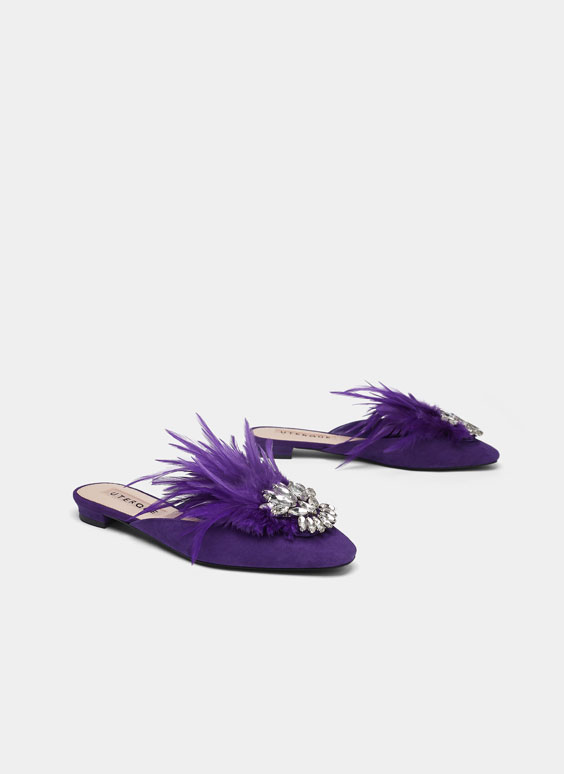 Suede mules with feather details