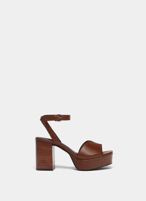 Ādas sandales ar platformu