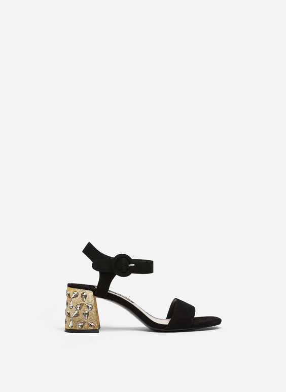 Suede mid-heel gem sandals