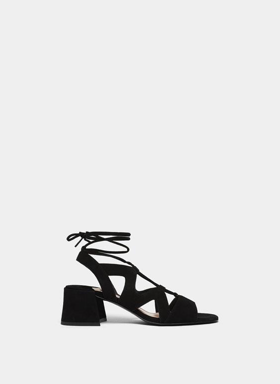 Sandales lacées daim