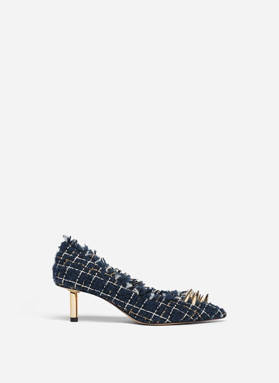 Tweed court shoes with studs