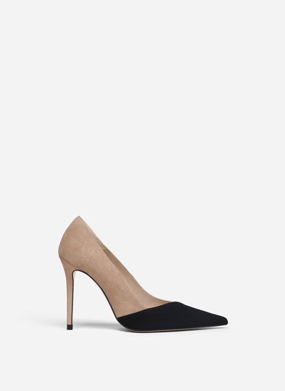 Two-tone suede court shoes