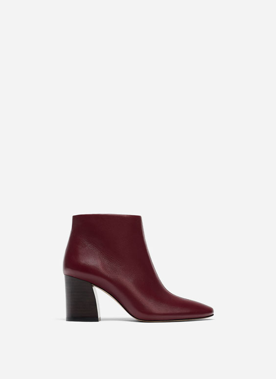 Burgundy soft ankle boots