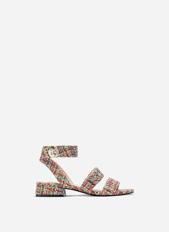 Multicoloured fabric sandals