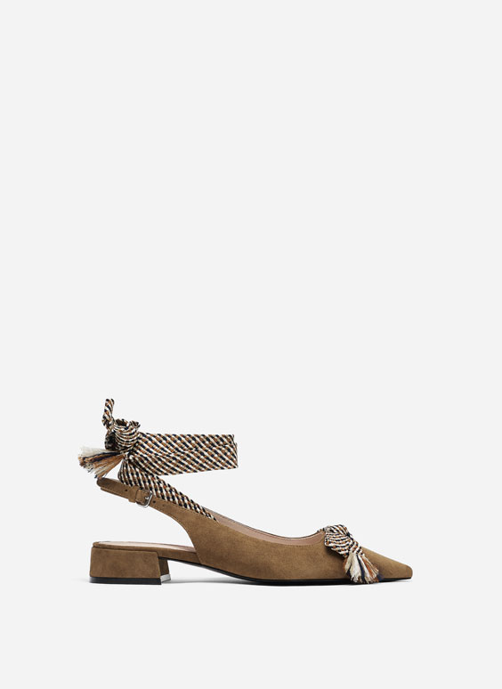 Buckled slingback shoes with fabric ties