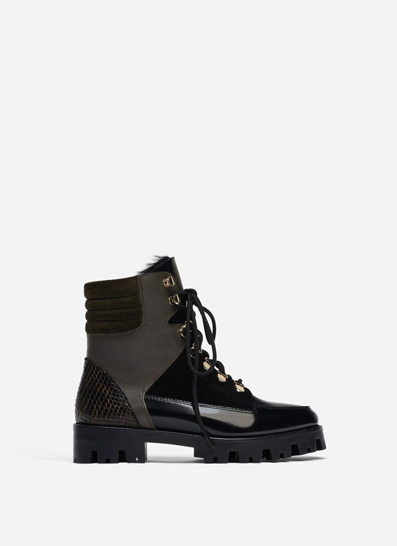 Track sole ankle boots with sheepskin trims