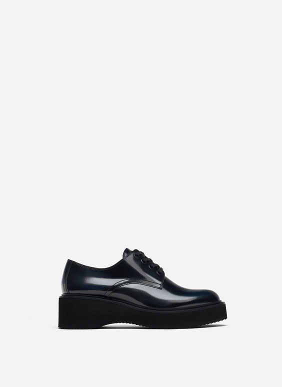 Leather platform derby shoes