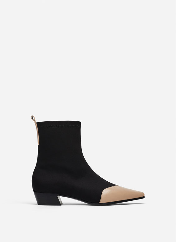 Flat ankle boots with toecap