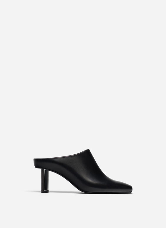 Black high-heel mules