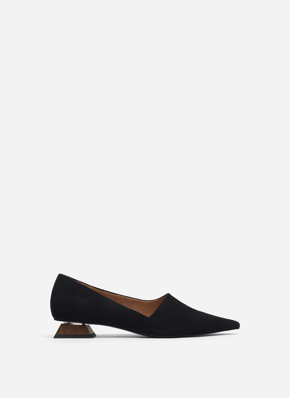 Suede ballerinas with asymmetric heel