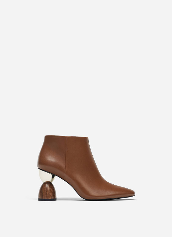 Leather ankle boots with asymmetric heel