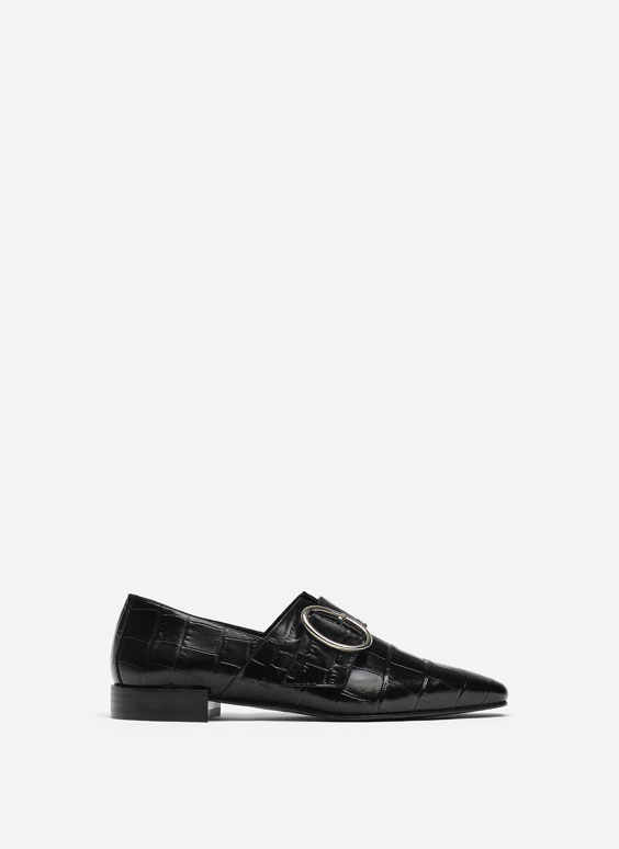 Mock croc leather loafers with buckle