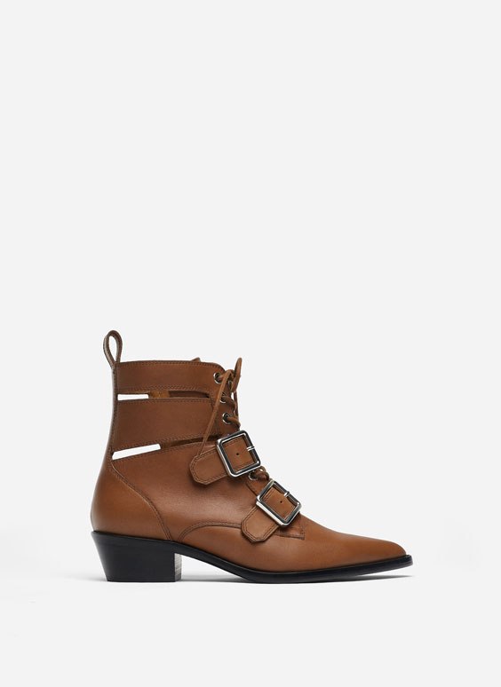 Leather cowboy ankle boots with buckles