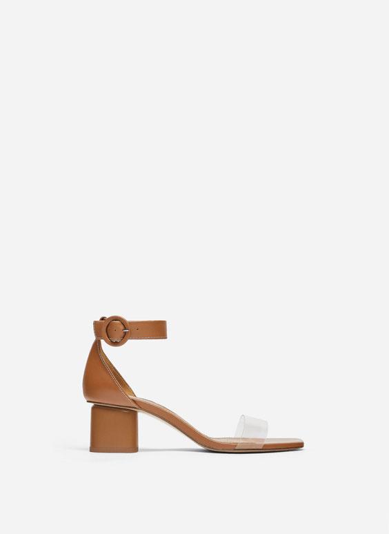 Vinyl mid-heel sandals