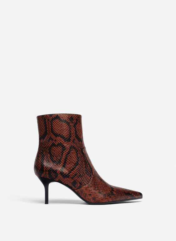 Snakeskin print leather ankle boots
