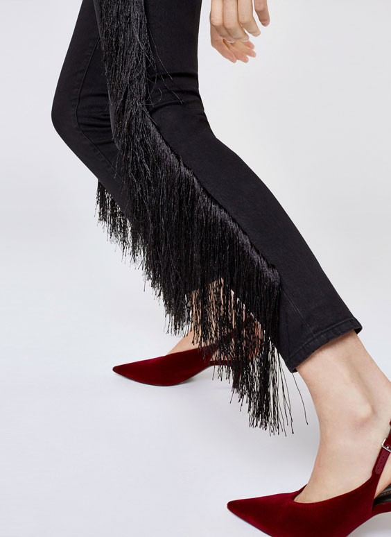 Jeans with fringes