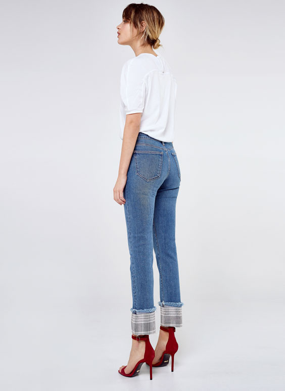 Jeans with embellished hems