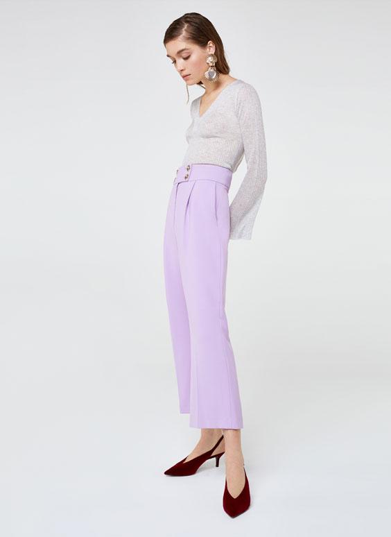 Liliowe spodnie culotte