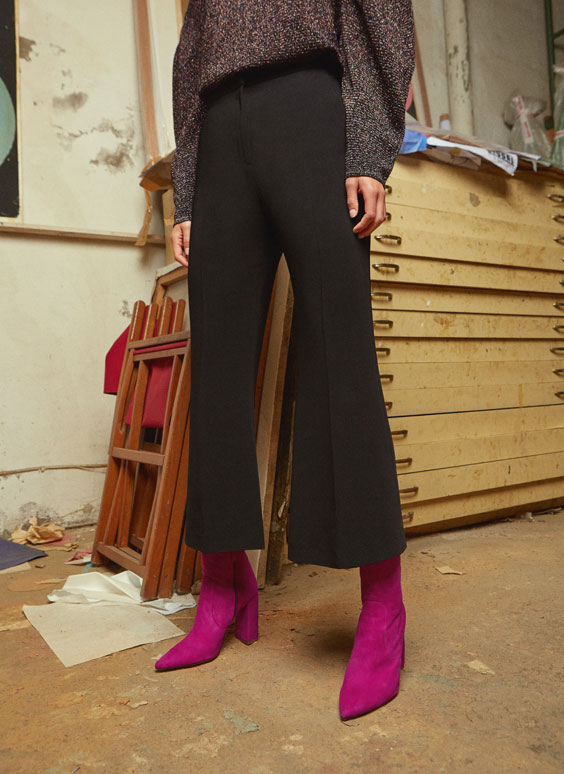 Flowing flared trousers