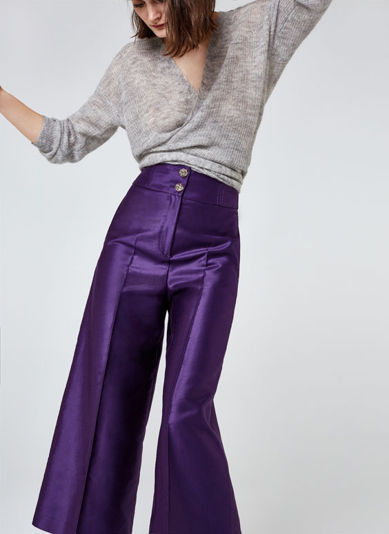 Shiny capri-length trousers