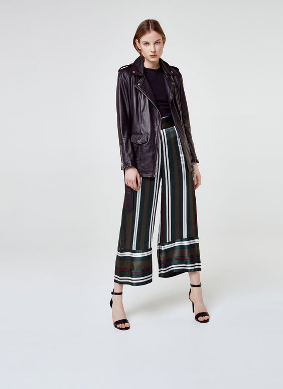 Striped capri-length trousers