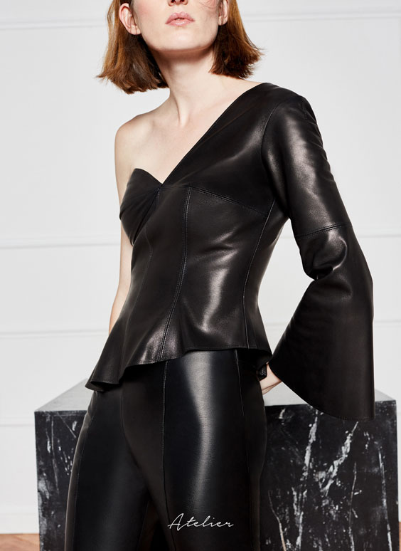 Asymmetric leather top