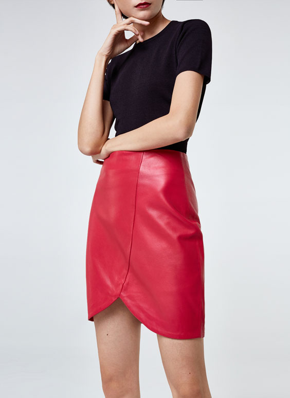 Crossover nappa leather skirt
