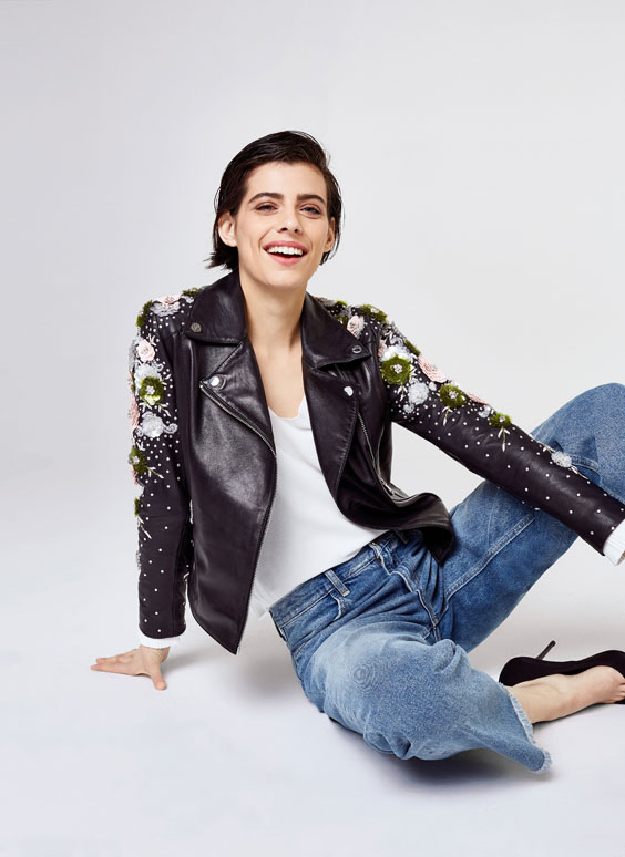 Biker jacket with embroidered flowers