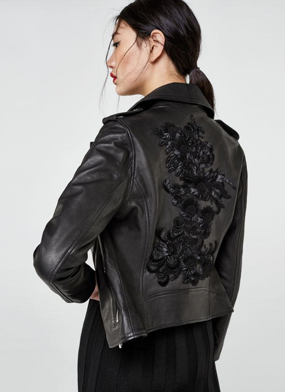 Biker jacket with embroidered back