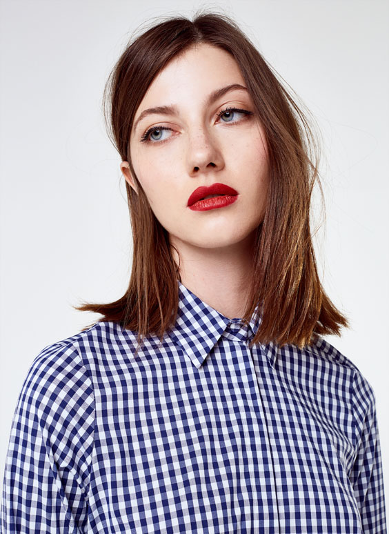 Oversized stretchy gingham shirt