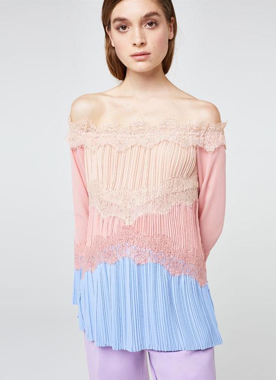 Трехцветная рубашка с плиссировкой