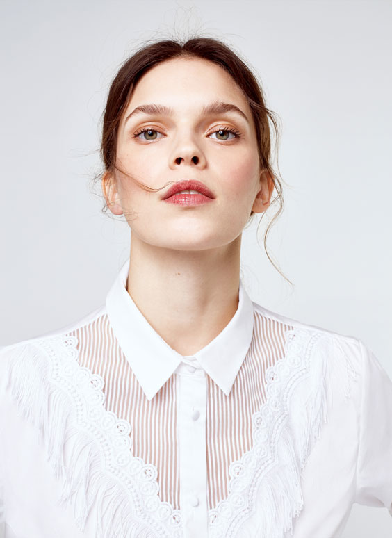 Poplin shirt with fringe