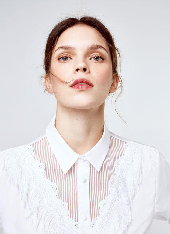 Camisa popelín con flecos