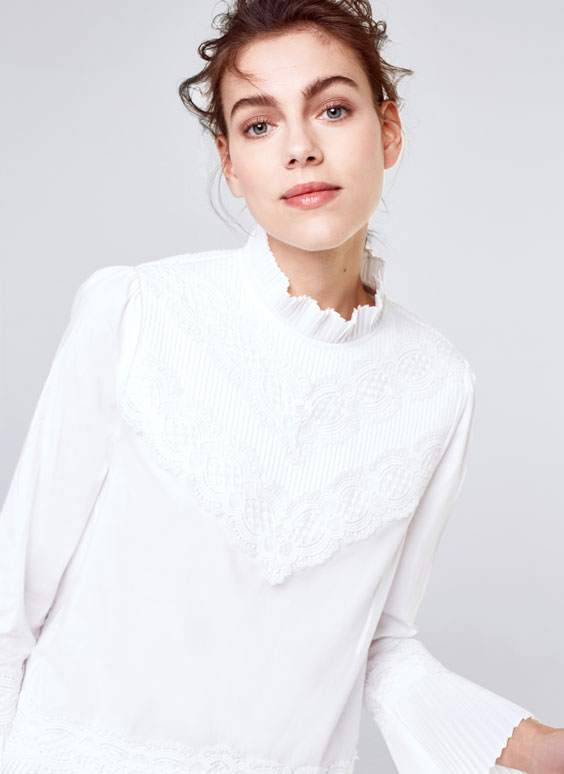 Blouse with pleated details