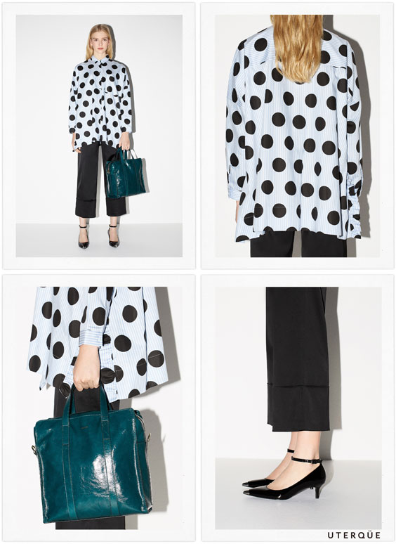Oversized shirt with maxi polka dots