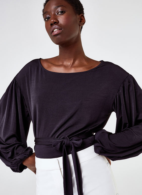 Puff sleeve top with belt