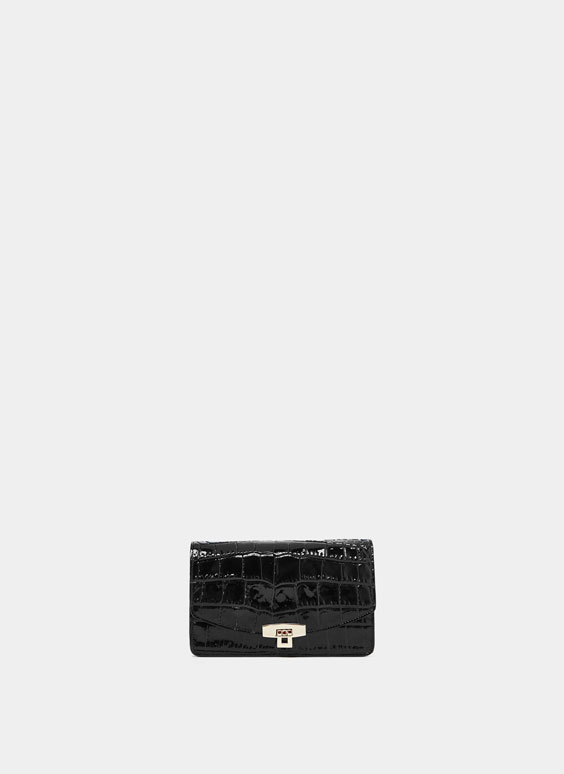 Mock croc patent leather compact crossbody bag