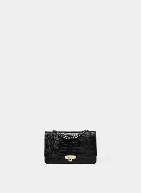 Maxi mock croc compact crossbody bag with a patent finish