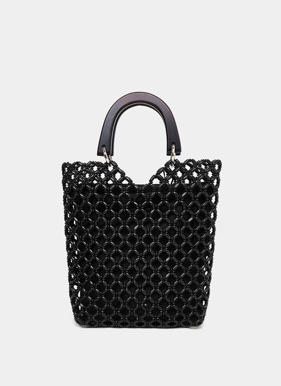Black beaded city bag