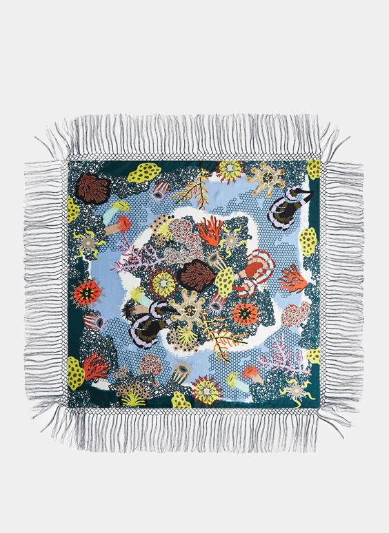 Silk foulard with fringing
