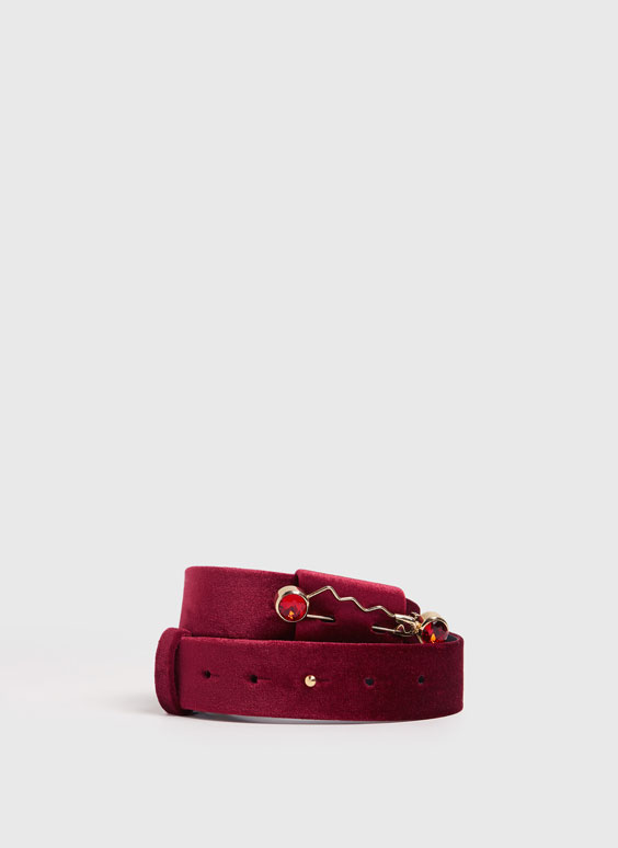 Velvet brooch belt
