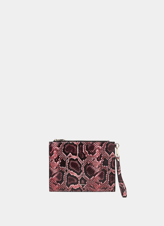 Snakeskin embossed clutch