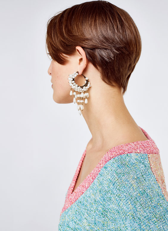Pearl bead-embellished hoop earrings