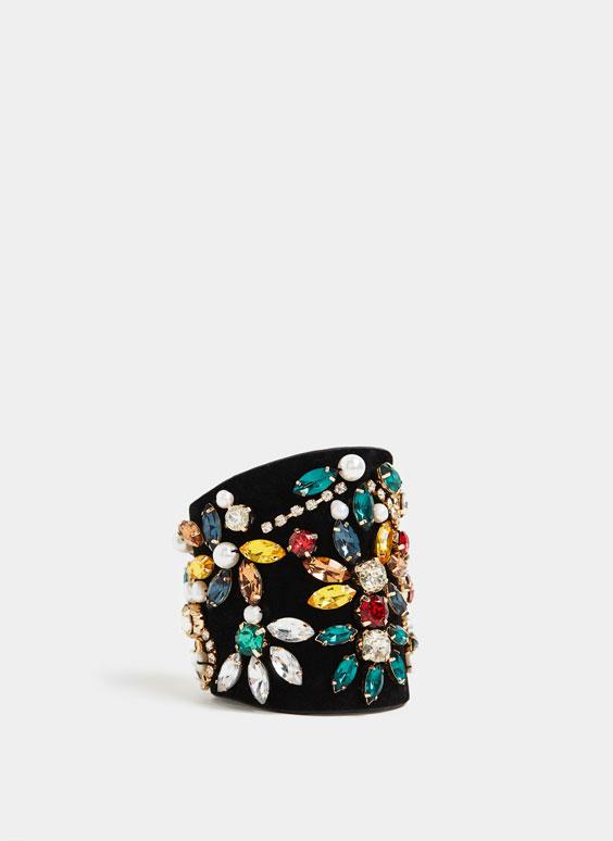 Bracelet velours avec pierres fantaisie
