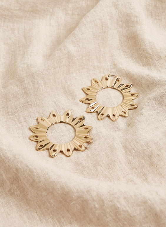 Sun hoop earrings